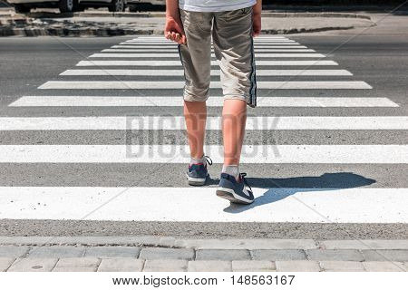 Crosswalk. Pedestrian on road. Overhead safe passage