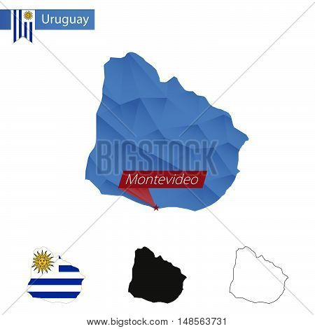 Uruguay Blue Low Poly Map With Capital Montevideo.
