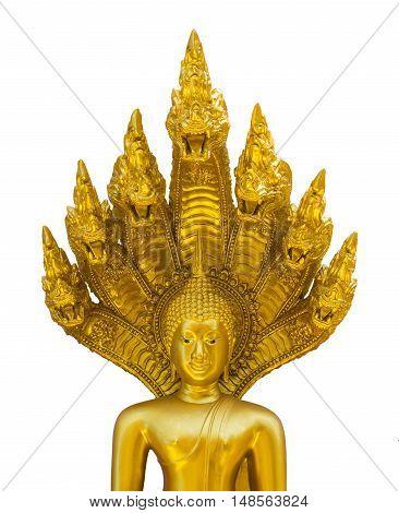 Golden Nacprk Buddha isolated on white background