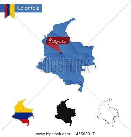 Colombia Blue Low Poly Map With Capital Bogota.