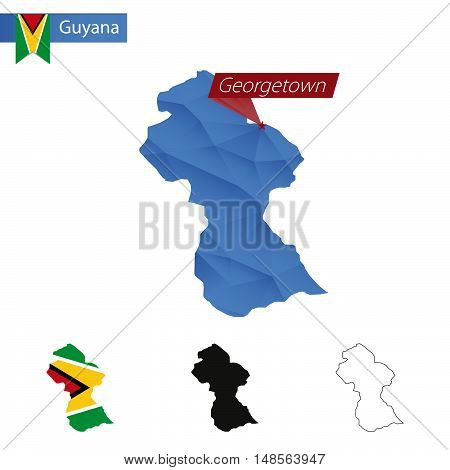 Guyana Blue Low Poly Map With Capital Georgetown.