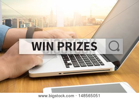 WIN PRIZES SEARCH WEBSITE INTERNET SEARCHING businessman working
