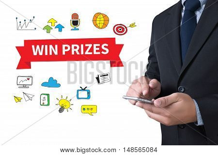 WIN PRIZES businessman working use smartphone touch