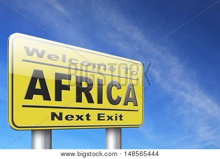 Africa continent tourism vacation and travel, road sign billboard. 3D, illustration