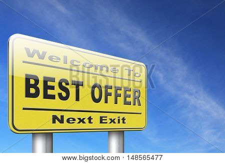 best offer, lowest price and best value for the money. Web shop or online promotion for internet webshop, road sign billboard. 3D, illustration