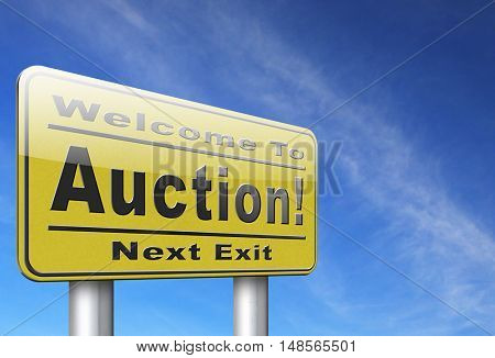 Online auction bid here and now. Buy and sell products real estate and cars or houses on the internet. 3D, illustration