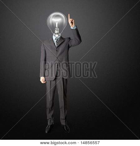 Full Length Businessman With Lamp-head Push The Button