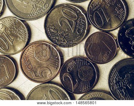 Vintage Euro Coins Flat Lay