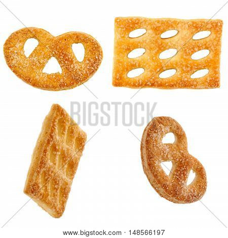 Cookies With Sugar From Different Angles. Isolation On White Background