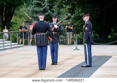 ARLINGTON,USA - AUGUST 15,2016 : Changing of the guard at the Tomb of the Unknown Soldier at Arlington National Cemetery