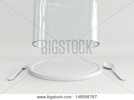 3D rendering open glass lid and tray with spoon and fork on white color