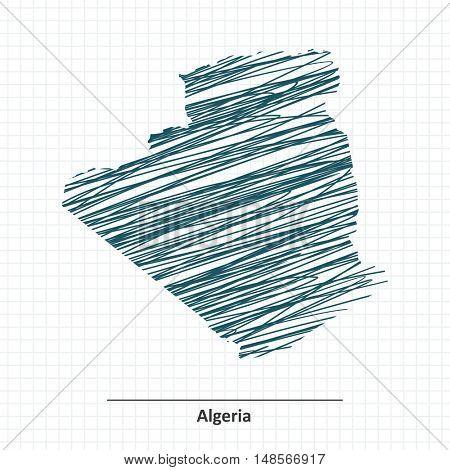 Doodle sketch of Algeria map - vector illustration