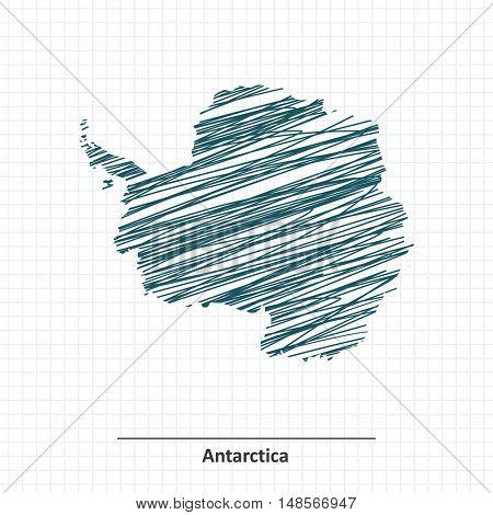 Doodle sketch of Antarctica map - vector illustration
