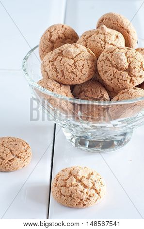 Typical Italian biscuits amaretti biscuits in piedmont