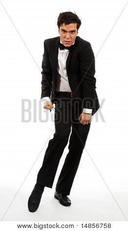 Empresário em Pose de dança flexível