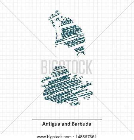 Doodle sketch of Antigua and Barbuda map - vector illustration