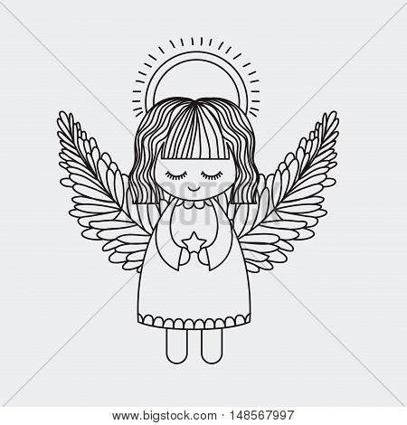 Angel icon. Merry Christmas season and decoration theme. Vector illustration