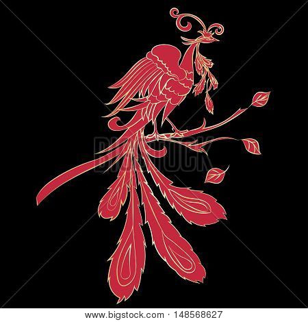 Red silhouette fantastic fire-bird are on black background. Vector illustration Ornate bird drawing decorated with abstract ornaments