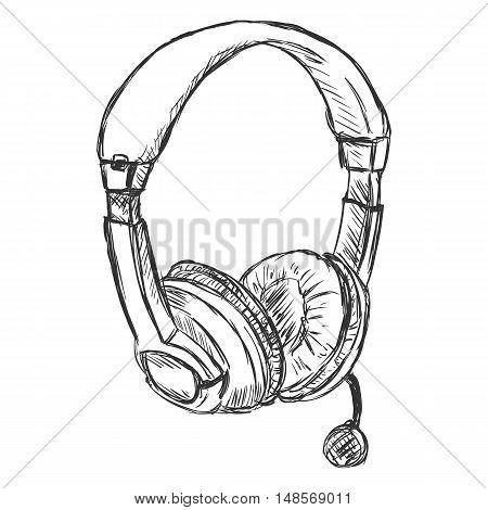 Vector Sketch Headset. Circumaural Headphones With Microphone