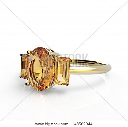Wedding ring with a diamond. Isolated on a white background. 3d digitally rendered illustration