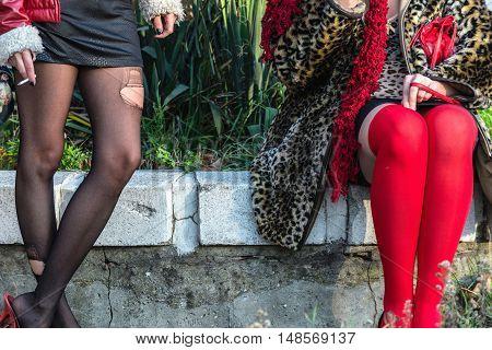 Prostitutes waiting. horizontal image, toned image, selective focus