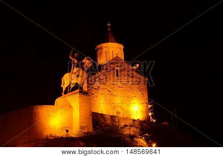 ancient orthodox church metekhi Tbilisi Georgia, night scene