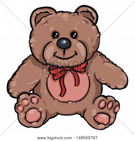 Vector Cartoon Character: Teddy Bear