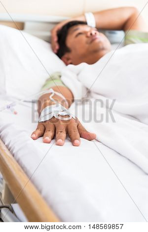 Women strain and worried for her friend in bed health condition in hospital room select focus