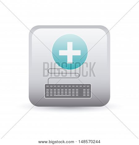 Cross inside frame icon. Medical and health care theme. Colorful and isolated design. Vector illustration