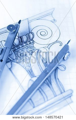architecture drawings & compass