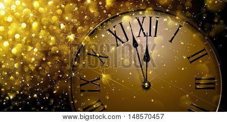 Twelve o'Clock on New Year's Eve in colored gold. Vector illustration