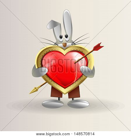 greeting card with a beautiful little Bunny, who is holding a red heart pierced by an arrow as a sign of love and devotion to your loved one