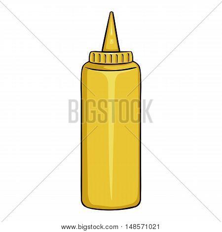 Vector Cartoon Yellow Plastic Bottle With Mustard