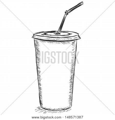 Vector Sketch Illustration - Plastic Cup