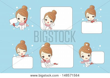 cartoon happy woman show something in christmas