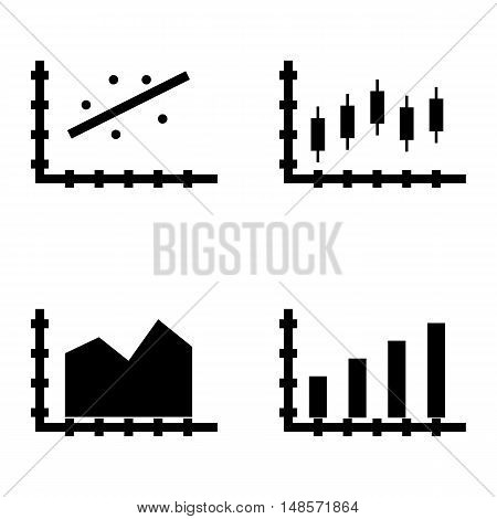 Set Of Statistics Icons On Bar Chart, Area Chart, Candles Chart And More. Premium Quality Eps10 Vect