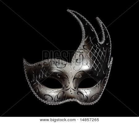 Silver Classic Venetian Mask On Black