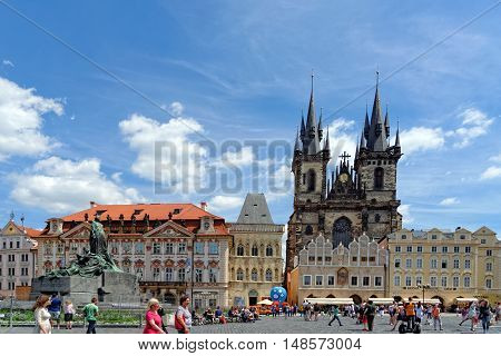 PRAGUE, CZECH REPUBLIC - JULY 3, 2014: The Old town square cityscape with the Tyn Cathedral. Prague is Europe's 5th most visited city and World Heritage Site by UNESCO.
