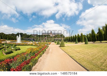 public park with ornamental structure near monestary