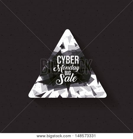 Cyber Monday icon. ecommerce sale decoration and advertising theme. Black and white design. Vector illustration