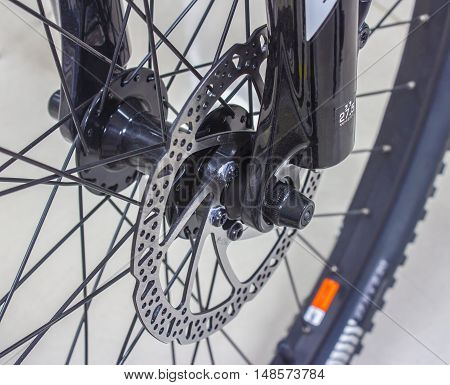 The disk brake of a mountain bicycle