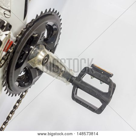 The bicycle's pedal  of a mountain bicycle