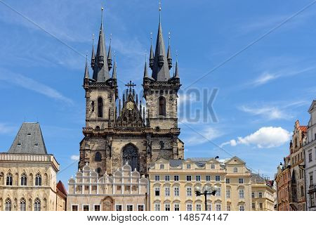 Church of our Lady before Tyn - Tyn Church in the Old town square in Prague Czech Republic. The name of the church originates from the Tyn Courtyard behind the church.