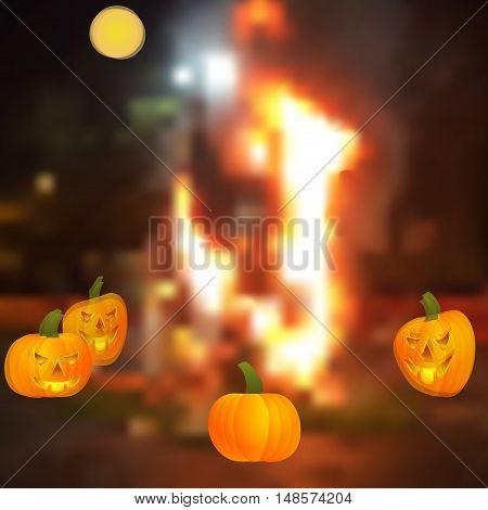 Halloween - the pumpkin around the campfire. Halloween pumpkin - Jack lamp. The ancient Celts and Irish holiday. Vector illustration