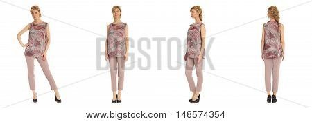 Attractive Young Woman In Pink Pants Isolated Over White