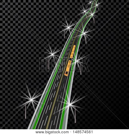 Curved highway. In perspective. Yellow and white markings. Vector illustration