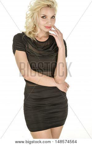 young beautiful blonde attractive women in studio