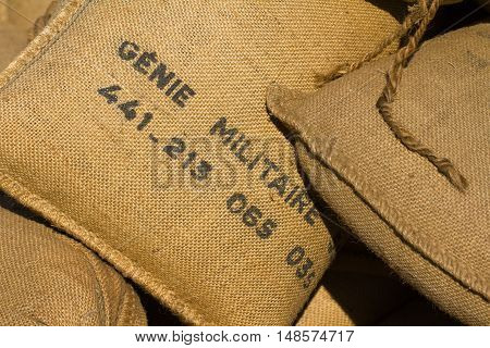 French military Sandbags with French words