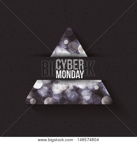 Cyber Monday and blured lights icon. ecommerce sale decoration and advertising theme. Black and white design. Vector illustration