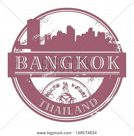 Grunge rubber stamp with the name of Bangkok, Thailand written inside the stamp, vector illustration